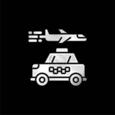 Illustration pour Icône métallique argentée de l'aéroport - image libre de droit
