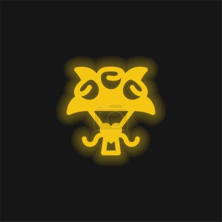 Illustration pour Bouquet jaune flamboyant icône néon - image libre de droit