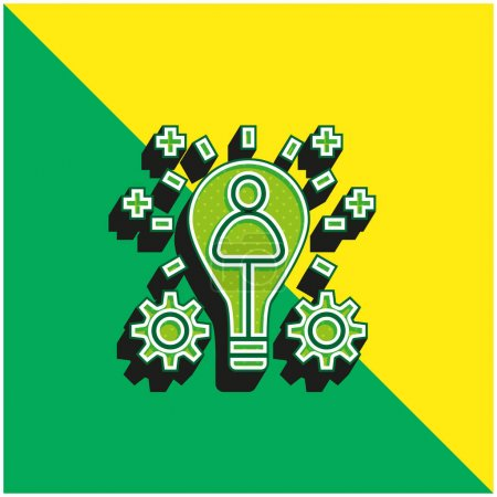 Illustration for Branding Green and yellow modern 3d vector icon logo - Royalty Free Image