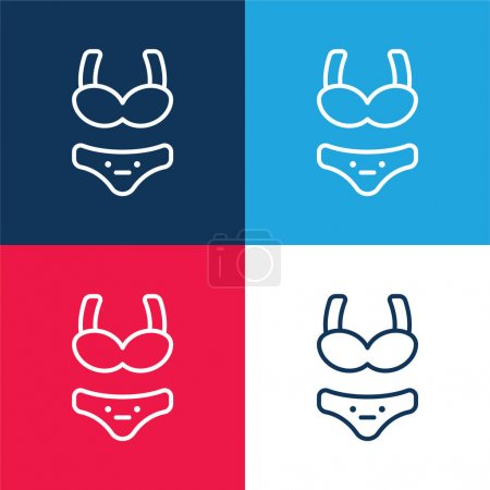 Photo for Bikini blue and red four color minimal icon set - Royalty Free Image