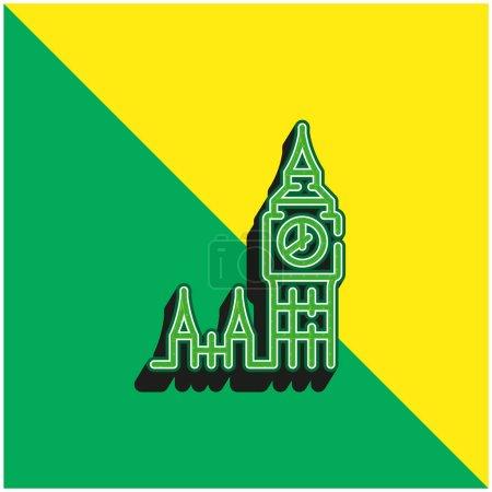 Big Ben Green and yellow modern 3d vector icon logo