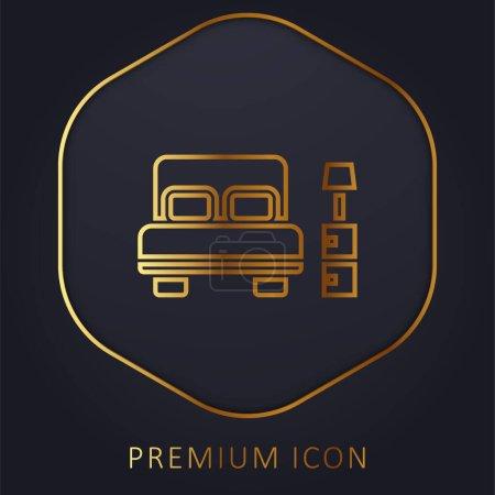 Illustration pour Chambre à coucher ligne d'or logo premium ou icône - image libre de droit