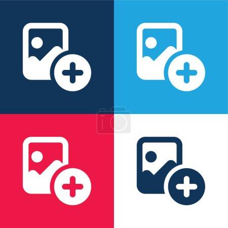 Illustration pour Ajouter bleu et rouge quatre couleurs minimum jeu d'icônes - image libre de droit