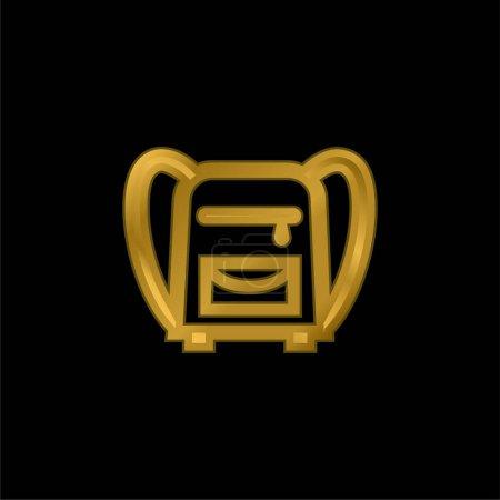 Illustration pour Back Bag For School gold plated metalic icon or logo vector - image libre de droit