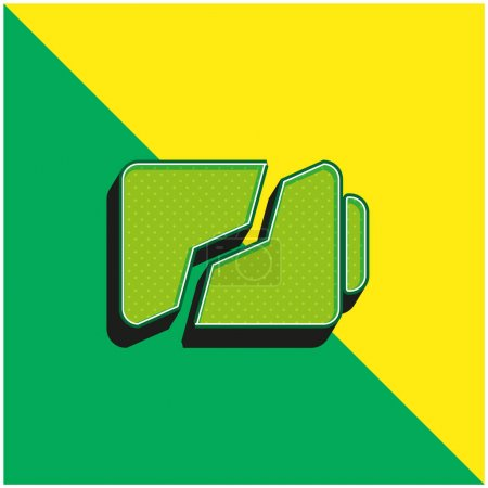Illustration pour Battery Broken In Two Parts Symbol Green and yellow modern 3d vector icon logo - image libre de droit