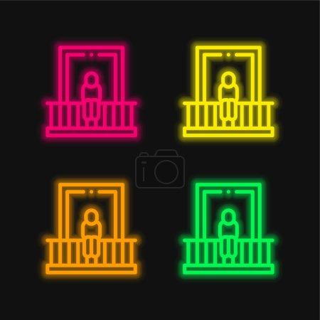 Photo pour Balcon quatre couleurs brillant icône vectorielle néon - image libre de droit