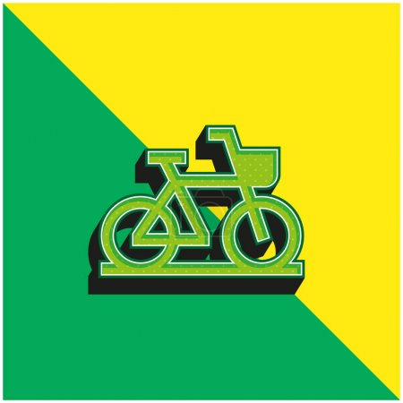 Illustration for Bike Green and yellow modern 3d vector icon logo - Royalty Free Image