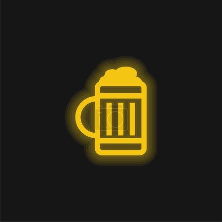 Beer Jar yellow glowing neon icon