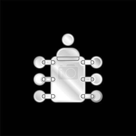 Photo pour Plaqué argent panneau icône métallique - image libre de droit