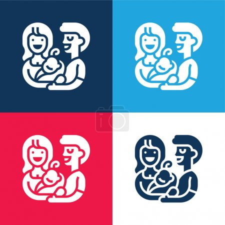 Annahme blauer und roter vier Farben minimaler Symbolsatz