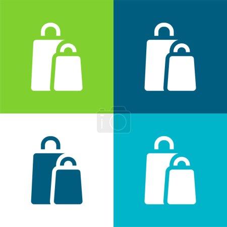 Illustration pour Sacs Ensemble d'icônes minimal plat quatre couleurs - image libre de droit