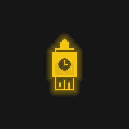 Photo pour Big Ben jaune brillant icône néon - image libre de droit