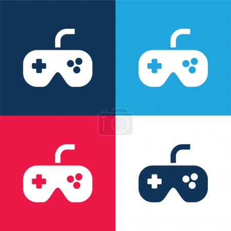 Black Gamepad blue and red four color minimal icon set