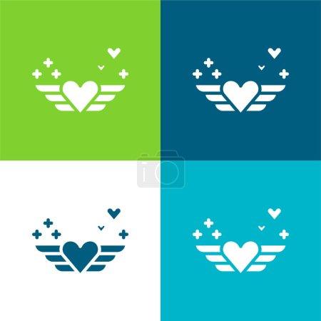 Illustration pour Angel Flat ensemble d'icônes minimes quatre couleurs - image libre de droit