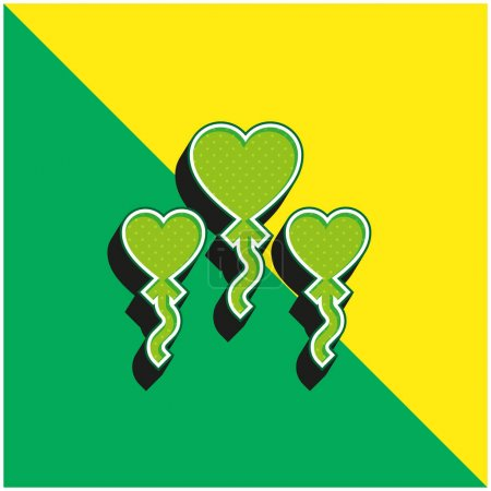 Balloons Green and yellow modern 3d vector icon logo