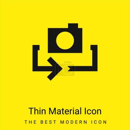 Illustration pour Flèche minimale jaune vif icône matérielle - image libre de droit
