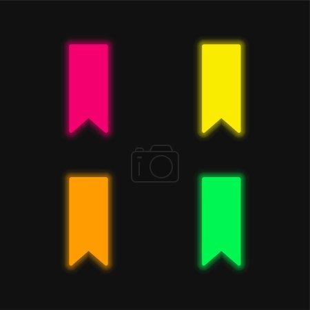 Bookmark Black Shape four color glowing neon vector icon