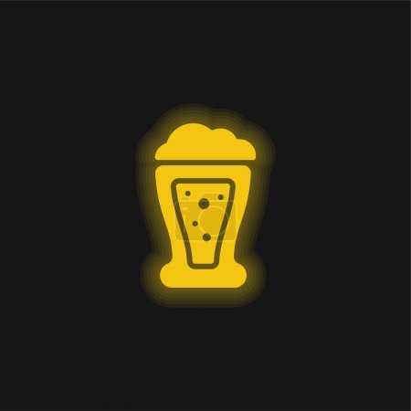 Illustration pour Bière jaune flamboyant icône néon - image libre de droit