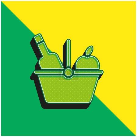 Illustration pour Panier Logo vectoriel 3d moderne vert et jaune - image libre de droit