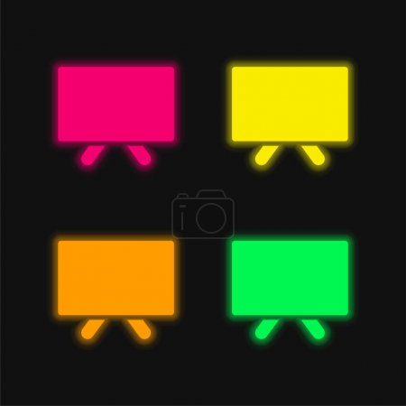 Illustration for Blank Blackboard four color glowing neon vector icon - Royalty Free Image