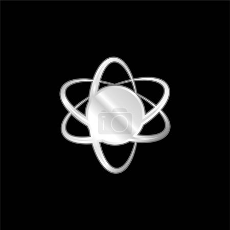 Photo for Atom Symbol silver plated metallic icon - Royalty Free Image