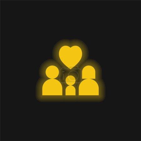 Illustration pour Adoption jaune brillant icône néon - image libre de droit