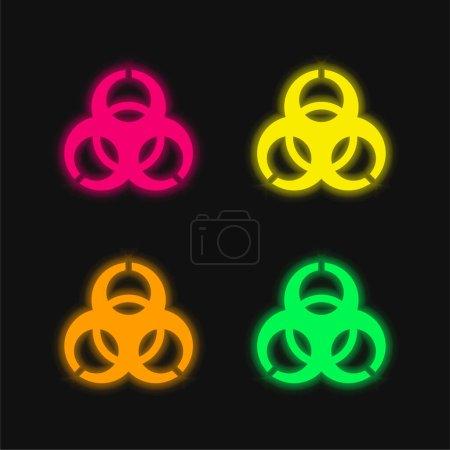 Biohazard four color glowing neon vector icon