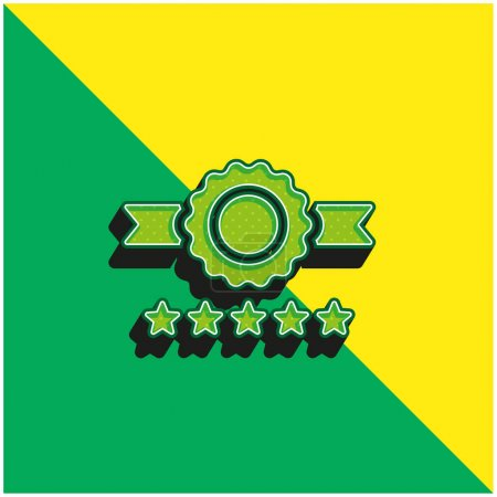 Illustration for Badge Green and yellow modern 3d vector icon logo - Royalty Free Image