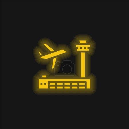 Photo pour Icône néon jaune brillant aéroport - image libre de droit