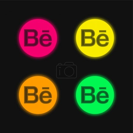 Behance Logo four color glowing neon vector icon...
