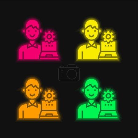 Illustration pour Admin quatre couleurs rougeoyantes icône vectorielle néon - image libre de droit