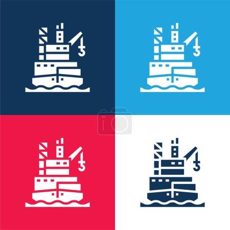 Illustration pour Barge bleu et rouge quatre couleurs minimum jeu d'icônes - image libre de droit