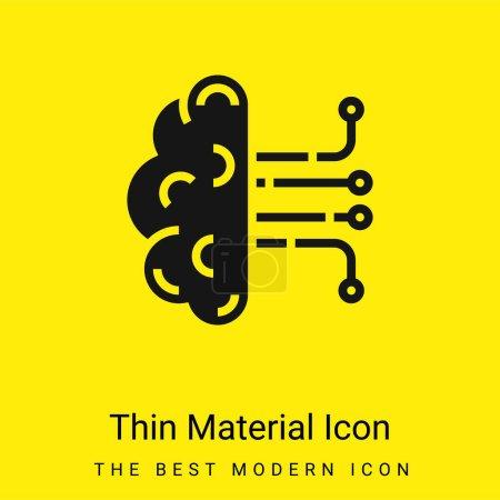 Illustration pour Intelligence artificielle minimaliste jaune vif icône matérielle - image libre de droit
