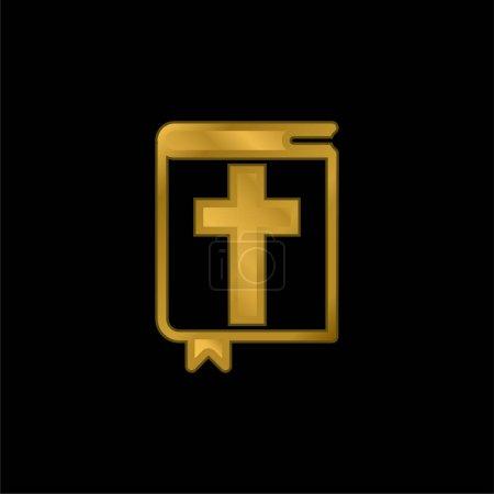 Photo pour Icône ou vecteur de logo métallisé plaqué or Bible - image libre de droit