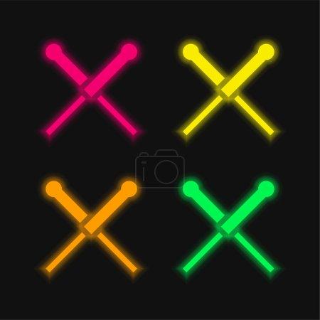 Akupunktur vier Farben leuchtenden Neon-Vektor-Symbol