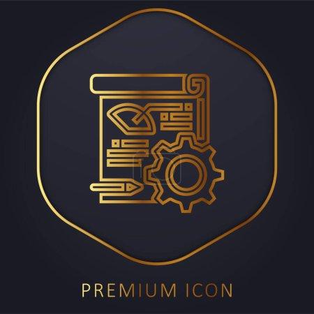 Illustration for Analytics golden line premium logo or icon - Royalty Free Image