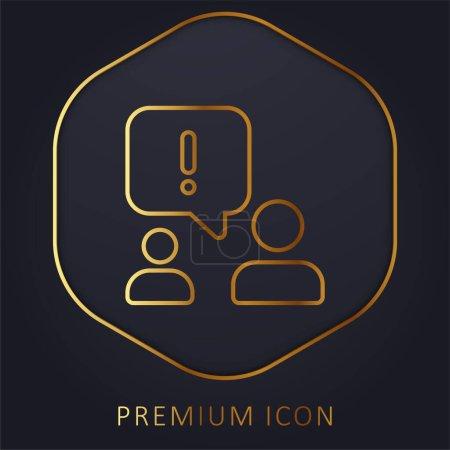 Photo pour Alerte ligne dorée logo premium ou icône - image libre de droit
