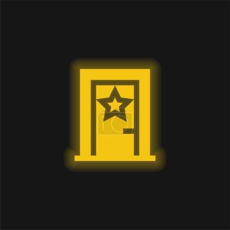 Illustration pour Dans les coulisses jaune néon brillant icône - image libre de droit