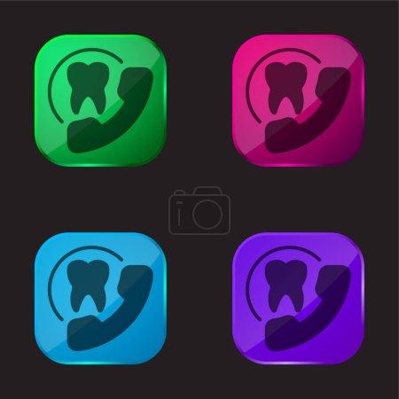 Illustration pour Rendez-vous icône de bouton en verre quatre couleurs - image libre de droit