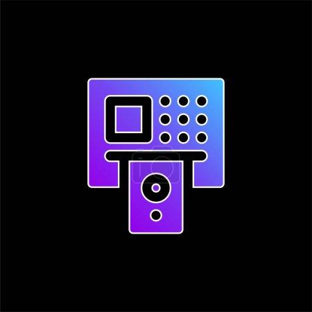 Illustration pour Icône vectorielle de dégradé bleu ATM - image libre de droit