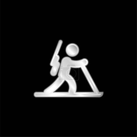 Biatlón plateado icono metálico