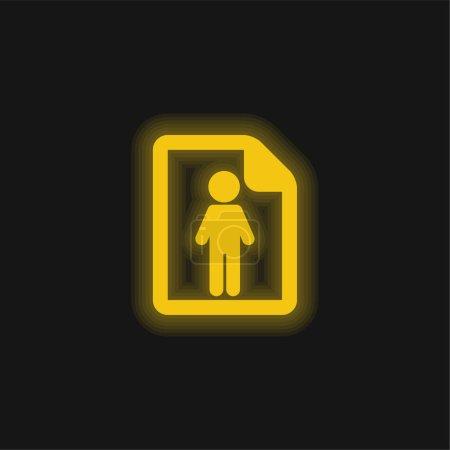über erfolgreiche Mann gelb glühende Neon-Ikone