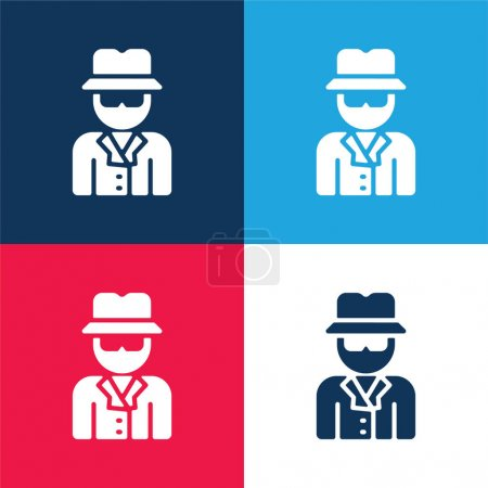 Anonymous blue and red four color minimal icon set