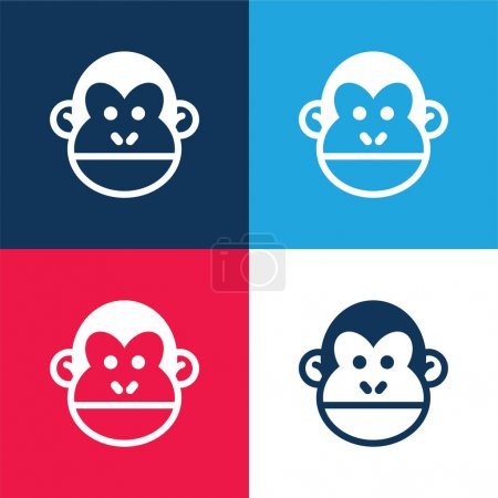 Animal blue and red four color minimal icon set