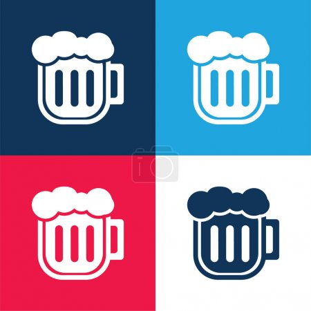 Illustration for Beer Pint blue and red four color minimal icon set - Royalty Free Image