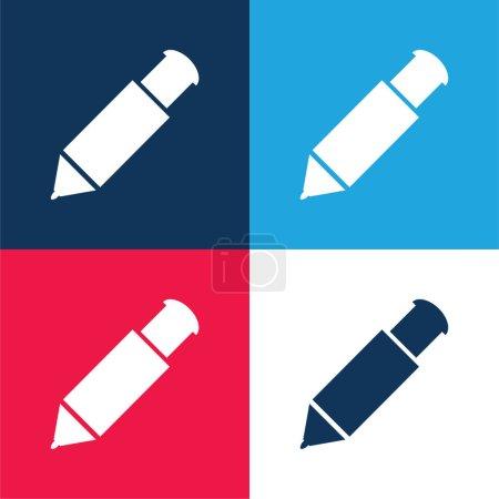 Photo pour Big Mechanical Pen blue and red four color minimal icon set - image libre de droit