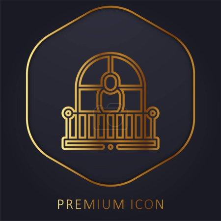 Illustration for Balcony golden line premium logo or icon - Royalty Free Image
