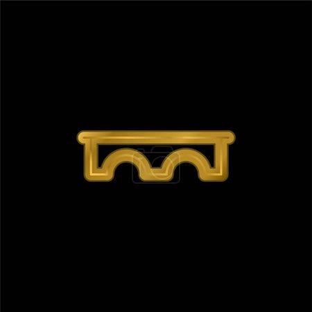 Photo pour Pont plaqué or icône métallique ou logo vecteur - image libre de droit