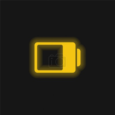 Illustration pour Battery Status Interface Symbol Almost Full yellow glowing neon icon - image libre de droit