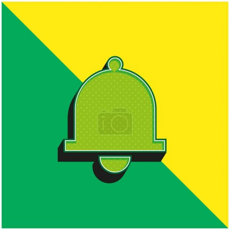 Bell Green and yellow modern 3d vector icon logo